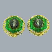 Signed Hobe vintage clip back Earrings in green and purple hues