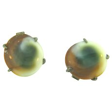 Signed sterling silver with patent number to 1949 operculum shell Cuff Links