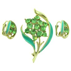 Vintage 1960's floral Brooch and clip back Earrings with green rhinestones and enamel