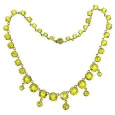 Vintage citrine crystal rhinestone choker Necklace