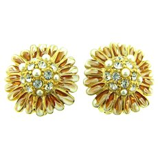 Signed Erwin Pearl floral clip back earrings with crystal rhinestones, imitation pearls and enamel