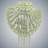 Signed ORA silver tone Hair Comb with crystal rhinestones