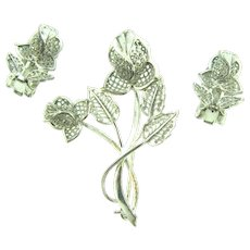 Signed Alice Caviness sterling Germany filigree floral Brooch and clip back Earrings