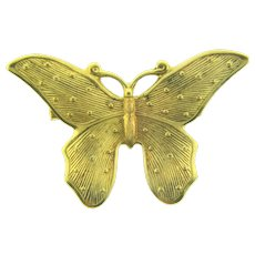 Vintage gold tone figural Butterfly Brooch with pink rhinestones