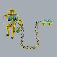 Vintage figural Chatelaine Asian themed with enamel and rhinestones