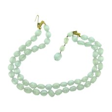 Vintage double strand choker Necklace with Lucite light blue moonglow beads