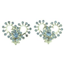 Vintage silver tone large clip back Earrings with light blue rhinestones