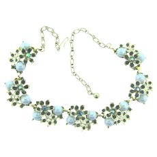 Vintage choker floral link Necklace with blue rhinestones and cabochons
