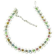 Signed Coro silver tone choker Necklace with multicolored pastel rhinestones