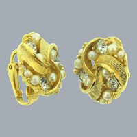 Vintage gold tone clip back earrings with imitation pearls and crystal rhinestones