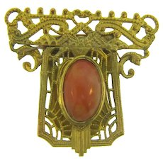 Vintage smaller Art Deco gold tone Dress Clip with carnelian colored glass stone