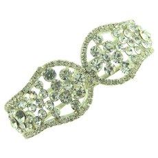 Vintage silver tone clamper Bracelet with crystal rhinestones