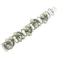 Vintage chunky book link silver tone Bracelet with imitation pearl cabochons