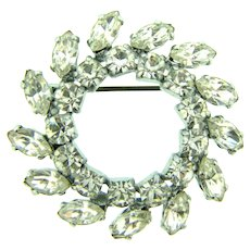 Vintage smaller circular pinwheel Brooch with crystal rhinestones