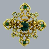 Vintage gold tone Scatter Pin with crystal and green rhinestones