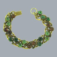 Signed Florenza link Bracelet with rhinestones and cabochons