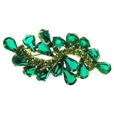 Vintage rhinestone 1960's Brooch in green hues