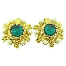 Vintage gold tone clip back Earrings with cabochons and imitation pearls