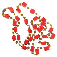 Vintage 42 inch beaded Necklace with red blocks and brown round beads