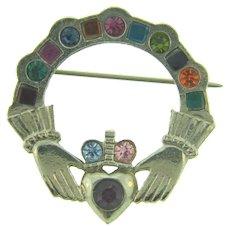 Vintage Claddagh silver tone circular Brooch with rhinestones