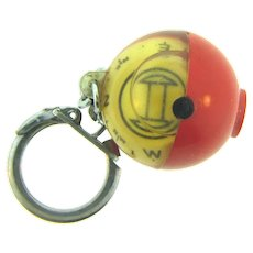 Made in France vintage early plastic compass Key Chain