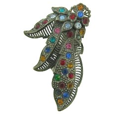 Vintage 1930's pot metal Dress Clip with multicolored rhinestones