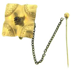 Vintage late 1800's gold filled square small Brooch with safety pin and red paste stone