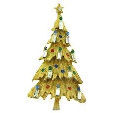 Vintage Christmas tree gold tone Brooch with rhinestones