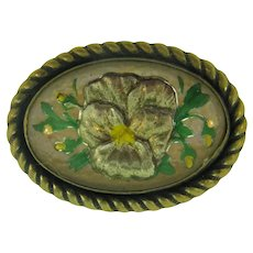 Vintage early goofus glass gold tone brooch with floral pansy design