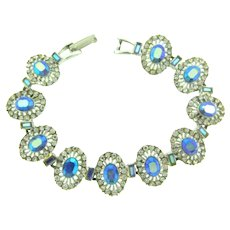 Vintage silver tone link bracelet with crystal and blue AB rhinestones