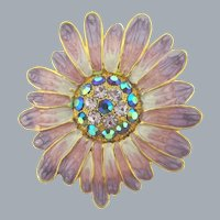 Vintage flower Brooch with enamel petals and rhinestones