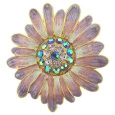 Vintage flower Brooch with enamel petals and rhinestones
