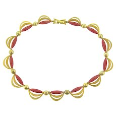 Signed Kramer gold tone draping choker Necklace with thermoset red rods