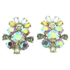 Signed Schiaparelli silver tone large clip back rhinestone Earrings