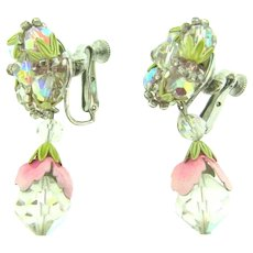 Signed Vendome dangling clip back Earrings win a floral design with enamel and crystal beads