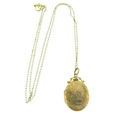 Marked 375 for 9 ct gold and hallmarked beautiful chased Locket with initial F and gold filled chain Necklace