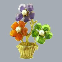 Signed Swoboda figural flower pot Brooch with semi precious stones and genuine pearls