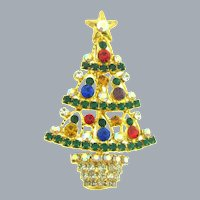Vintage colorful figural Christmas tree Brooch with rhinestones