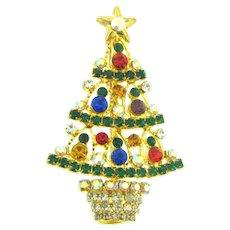 Vintage colorful figural Christmas tree Brooch with rhinestones