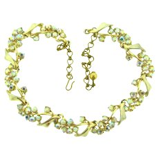 Signed BSK floral spray link choker Necklace with AB rhinestones