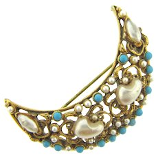 Signed Florenza crescent Brooch with imitation pearls and composition beads