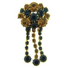 Vintage rhinestone dangling Brooch with amber and blue rhinestones