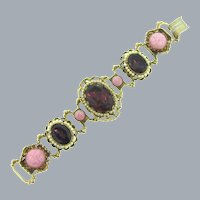 Vintage book link chunky Bracelet with imitation pearls, purple rhinestones, pink cabochons