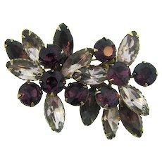 Vintage floral rhinestone Brooch in lavender and purple stones