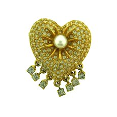 Signed Hattie Carnegie figural heart Brooch with imitation pearl and crystal rhinestones