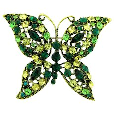 Vintage gorgeous large figural butterfly Brooch with jonquil, blue and green rhinestones