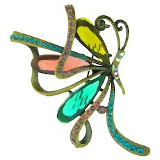 Vintage figural abstract butterfly Brooch with Lucite stones and rhinestones