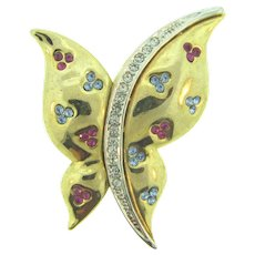 Vintage gold tone butterfly Brooch with blue, pink and crystal rhinestones