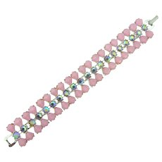 Vintage link Bracelet with pink thermoset tiles and AB rhinestones
