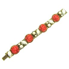 Vintage book link Bracelet with celluloid flowers and white glass stones and beads